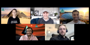 Five men participating in a Zoom interview, via Zoom which is set up as a grid view.