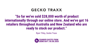 """A white tile with purple font including the quote """"So far we've sold $28000 worth of product internationally through our online store. And we'e got 16 retailers throughout Australia and NZ who are ready to stock our products""""."""