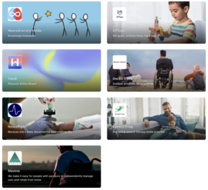 Screenshot of the grid view of the Hopin Booth landing page, which includes the logos of every #SYD20 startup.