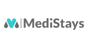 Medistays logo, which is the company name written in bold, grey font accompanied by a light blue and grey graphic of the letter 'M'.