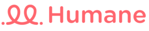 Humane logo, which is the company name written in bold, pink font accompanied by cursive, pink, line graphic.