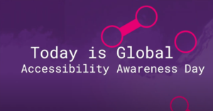 Purple textured background which includes pink graphics that symbolise a link, accompanied by white text that reads 'Today is Global Accessibility Awareness Day'.