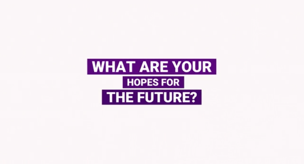 centred white text that is highlighted with bright purple colour reading 'What are your hopes for the future?'