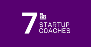Purple background with large white bold text that reads '7 [remarkable logo] startup coaches'