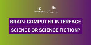 green and purple background. Centred is large bold white text 'Brain-computer interface science or science fiction?'